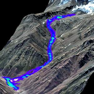 Modellierter Gletscherseeausbruch in Tadschikistan
